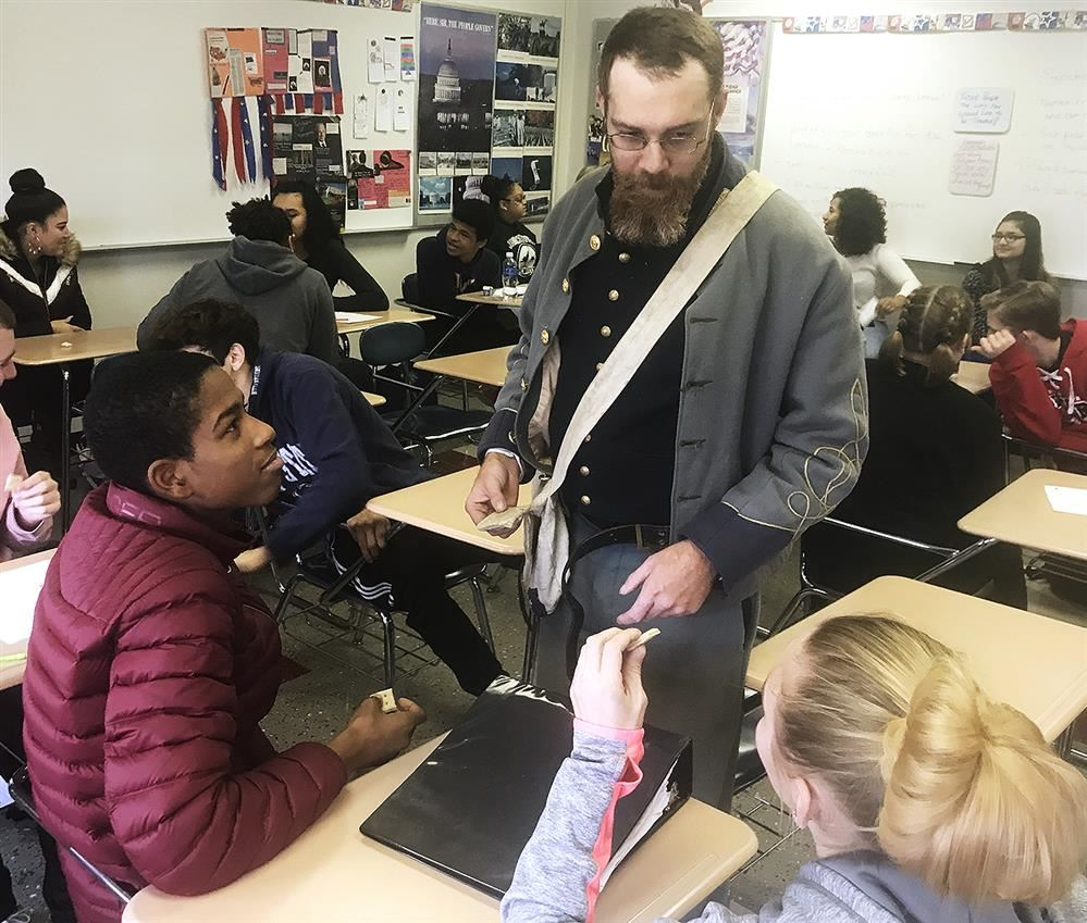 Civil War Reenactor Visits JHS U.S. History Classes