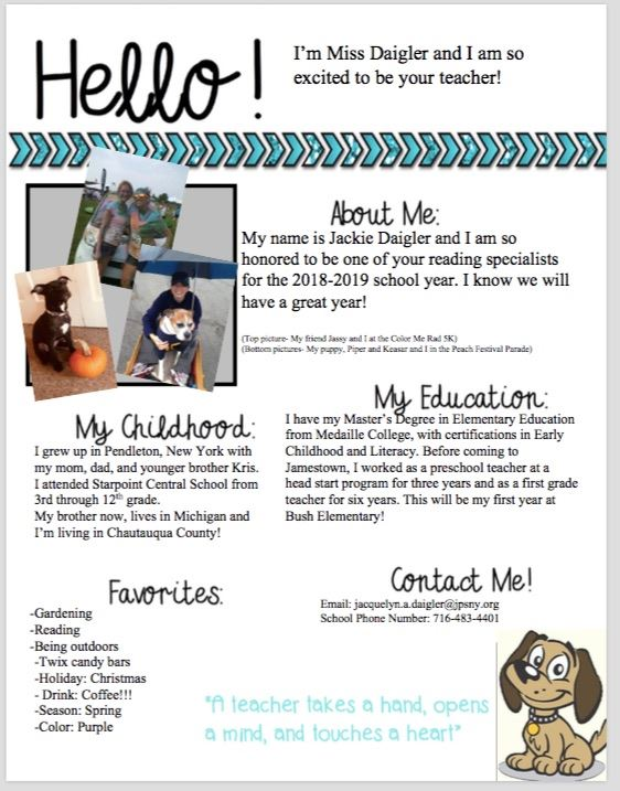 My name is Jackie Daigler. I am a reading specialist. I have my certification in early childhood, childhood and Literacy.