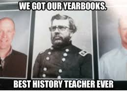 A picture of a history teacher dressed as a Civil War soldier in a year book photo